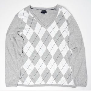 Tommy Hilfiger Mens Gray / White V-Neck Sweater